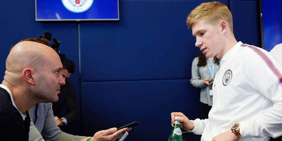 Manchester City's Kevin De Bruyne is interviewed at a press conference on 24th January 2019, the night after scoring the winning goal putting Manchester City into the League Cup Final.