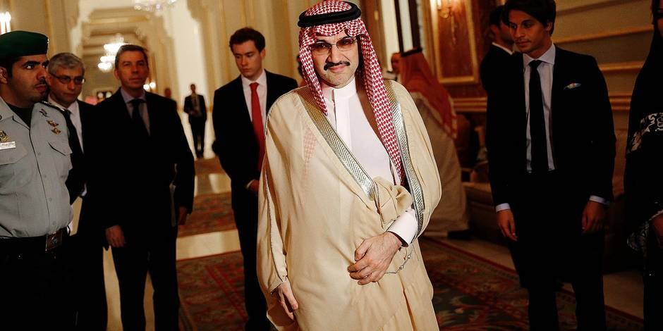 File photo - Saudi business magnate and investor Prince Al-Walid ben Talal ben Abdelaziz Al Saoud arrives for a meeting with French President Francois Hollande in Riyadh, Saudi Arabia on Tuesday, May 5, 2015. Hollande is the guest of honor of the 36th Gulf Cooperation Council Summit in Riyadh, where security issues in the region are going to be discussed. A new Saudi anti-corruption body has detained 11 princes, four sitting ministers and dozens of former ministers, media reports say. The detentions came hours after the new committee, headed by Crown Prince Mohammed bin Salman, was formed by royal decree. Among them is Prince Al-Walid ben Talal ben Abdelaziz Al Saoud. Photo by Christophe Ena/Pool/ABACAPRESS.COM Reporters / Abaca