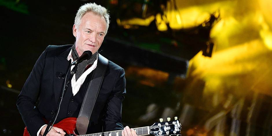 Sting performs on stage during the Sanremo Italian Song Festival at the Ariston theatre in Sanremo, Italy, late Wednesday, Feb. 7, 2018. The 68th edition of Italy's most famous television song contest runs from Feb. 6 to Feb. 10. (Ettore Ferrari/ANSA via AP)