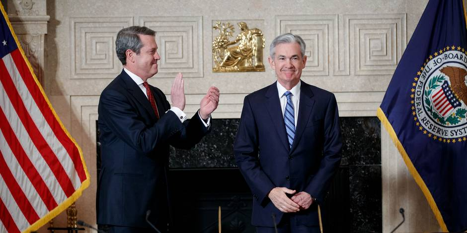 (180205) -- WASHINGTON, Feb. 5, 2018 (Xinhua) -- Jerome Powell (R) takes the oath of office as Chairman of the U.S. Federal Reserve, succeeding Janet Yellen, in Washington, the United States. on Feb 5, 2018. (Xinhua/Ting Shen) (zf)