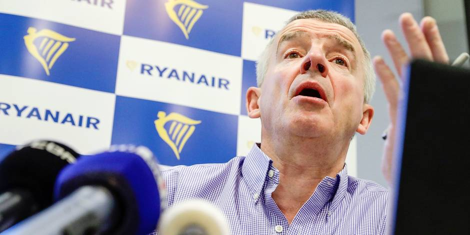 Ryanair CEO Michael O'Leary pictured during a press conference of Irish low-cost airline Ryanair, Tuesday 06 March 2018, in Brussels. BELGA PHOTO ERIC LALMAND