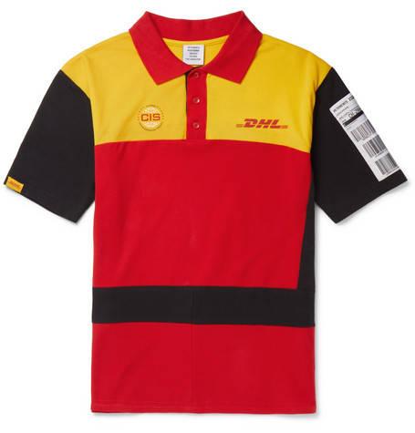 Vetements, DHL Slim-Fit Appliquéd Cotton-Piqué Polo Shirt,      590 euros.