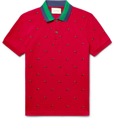 Gucci, Slim-Fit Embroidered Stretch-Cotton Piqué Polo Shirt, 590 euros.