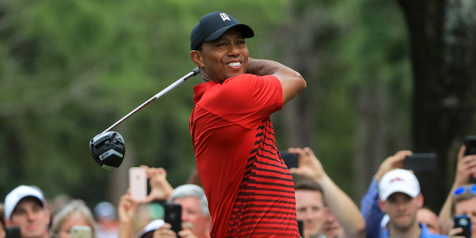 PALM HARBOR, FL - MARCH 11: Tiger Woods plays his shot from the 14th tee during the final round of the Valspar Championship at Innisbrook Resort Copperhead Course on March 11, 2018 in Palm Harbor, Florida. Sam Greenwood/Getty Images/AFP == FOR NEWSPAPERS, INTERNET, TELCOS & TELEVISION USE ONLY ==