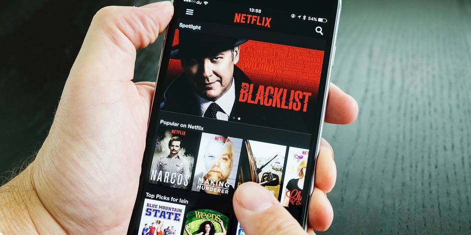 Homepage of Netflix on-demand Movie and TV streaming service app on iPhone 6 plus smart phone.
