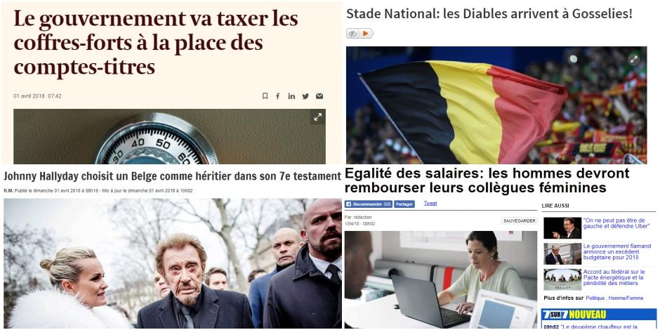 Johnny Hallyday, Pacte d'excellence et taxe sur les coffres-forts : voici les poissons d'avril de la presse belge