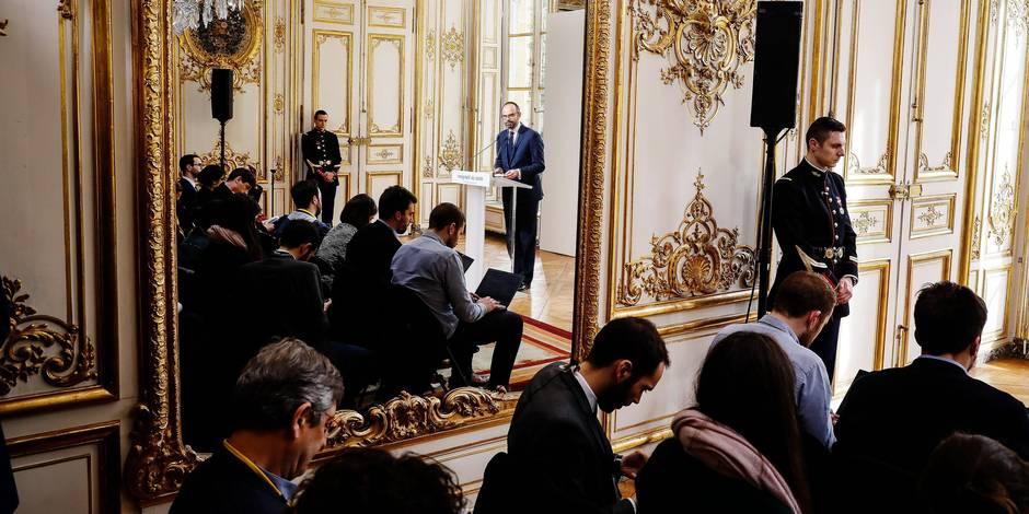 ©Thomas Padilla/MAXPPP - 04/04/2018 ; Paris, FRANCE ; PRESENTATION DE LA REFORME DES INSTITUTIONS PAR LE PREMIER MINISTRE, EDOUARD PHILIPPE A L' HOTEL DE MATIGNON.