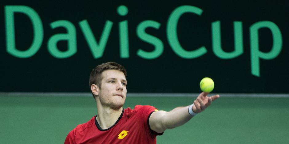 Belgian Joris De Loore pictured in action during a tennis game between US' John Isner (ATP 9) and Belgian Joris De Loore (ATP 319), the first rubber of the quarterfinals of the Davis Cup World Group tennis between USA and Belgium, Friday 06 April 2018, in Nashville, United States of America. The Davis Cup meeting is taking place from 6 to 8 April. BELGA PHOTO BENOIT DOPPAGNE