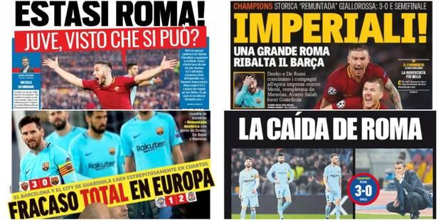"""Roma-Barça: """"Extase romaine"""" ou """"La chute de Rome"""", la presse italienne dithyrambique contre une presse espagnole abasou..."""